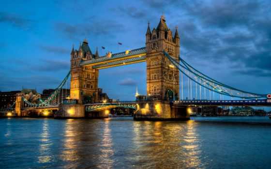 мост, башня, london, full, река, thames,