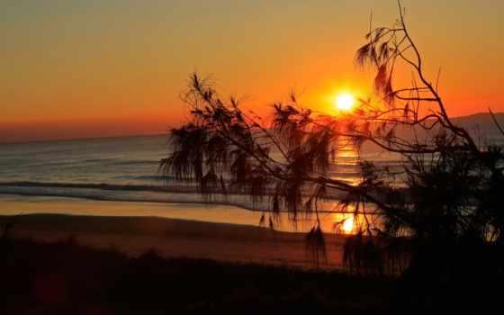 закат, море, oblaka, силуэт, одноклассники, природы, нее, красивые, небо, surf,