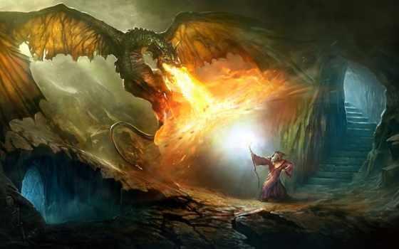 магия, дракон, огонь, девушка, посох, art, широкоформатные, скалы, город, дух, turret,