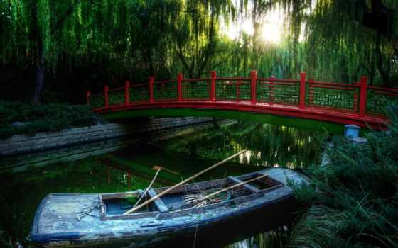 лодка, река, лес, мост, природа,