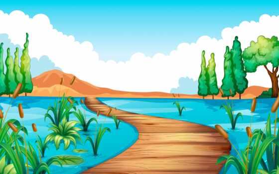 вектор, illustration, клипарт, stokovyi, озеро, million, фотобанк, хороший, мост