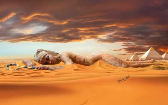 пустыня, песок, пирамиды