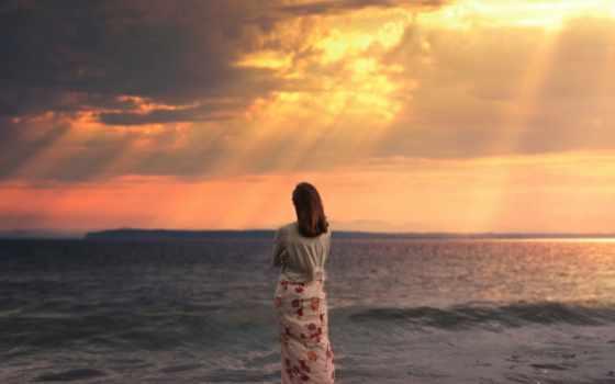 девушка, море, закат