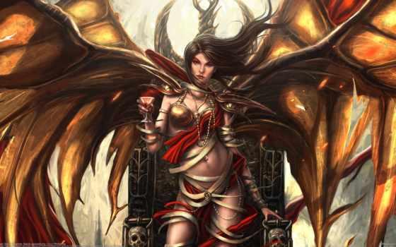город, коса, магия, черепа, арт, парень, демон девушка, трон, бокал, демон, крылья, bryan sola, арт, черепа арт, ангел, магия, крылья,