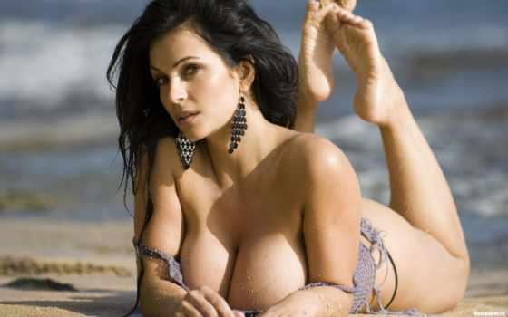 брюнетка, пляж, devushki, эротика, красавица, грудь, модель, локоны, пышные, формы, волосы,