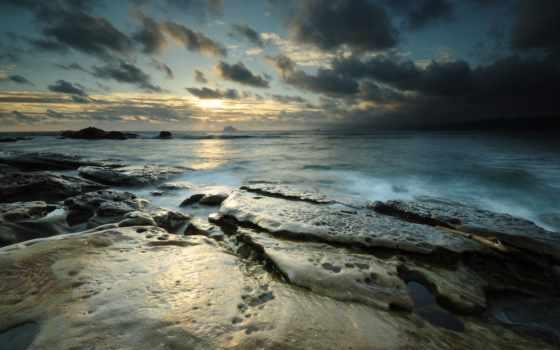пейзаж, zakat, солнце, небо, more, горизонт, камни,