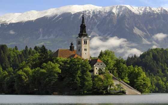 slovenia, словении, озеро, пейзажи -, храм, горы, bled, код, water, church,