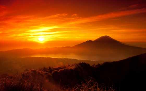 закат, озеро, горы