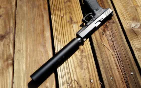 пистолет, глушителем, глушитель, доски, shadow, доска, оружие, картинка,