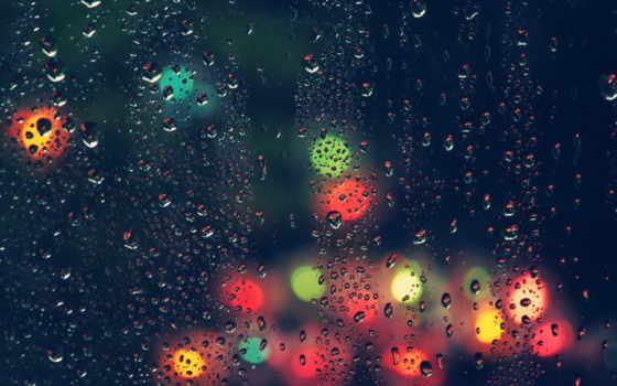 дождь, капли, glass, стекле, дождя, блики,