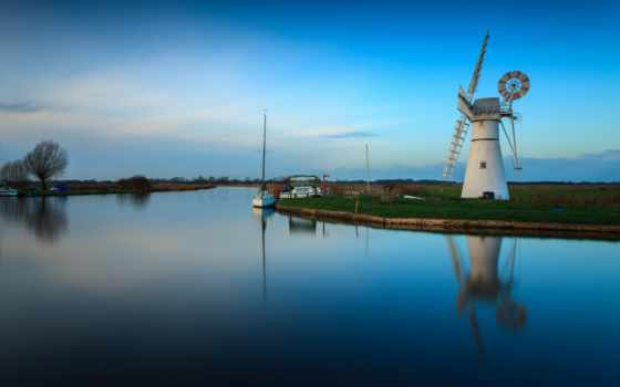 природа, pantalla, fondo, landscape, windmills,
