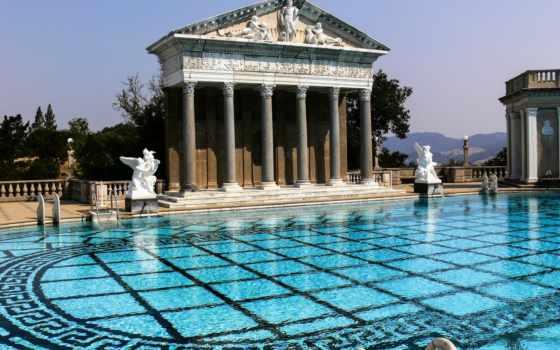 hearst, castle, бассейн, san, картинка, california, usa, simeon, neptune,