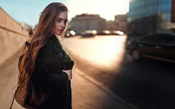 девушка, женщина, красивый, рюкзак, тело, pretty, charming, move, attractive, молодой