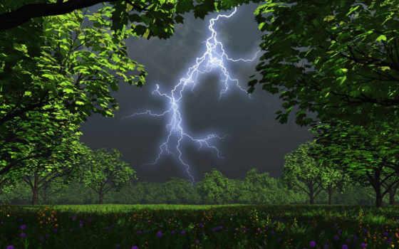thunder, lightning, буря
