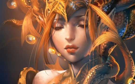 девушка, art, рыбы, sakimichan, пузыри, закрытые, свет, кулон,