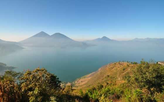 гватемала, природа, озеро, атитлан, горное, гватемалы, туман, туры, фотографий,