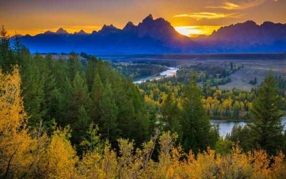 park, national, teton, grand, река, snake, overlook, закат, лес,