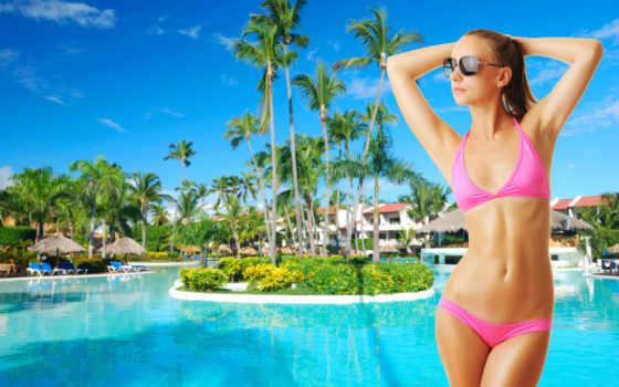 купальник, девушка, devushki, бассейн, тёмные, очки, русые, волосы, бассейны, пальмы,