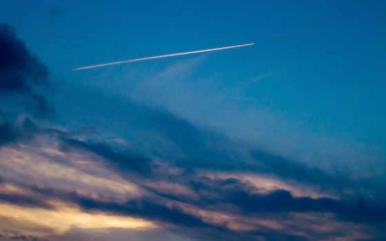 небо, облаками, map, голубом, затянутом, след, самолетов, самолёт,