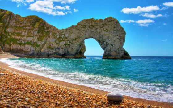 durdle, море, дверь, арка, пляж, дор, фотопечатью, воронеже, дердл, небо, rock,
