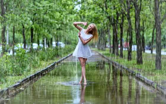 девушка, дождь, summer, wears, платье, kobieta, short,