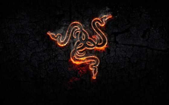 razer, logo, огонь, фон, game, креатив