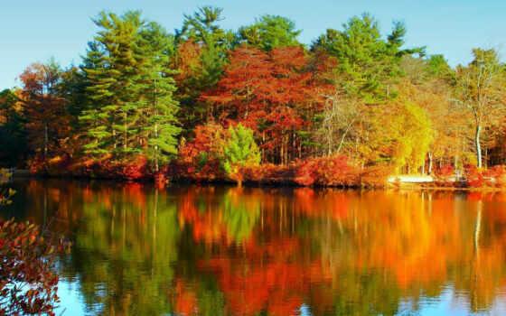 осени, осень, краски, гладь, водная, картинку, природа, озеро, лес, реальном, размере, её, обоями, picture, природы, чтобы, просмотреть, палитра,