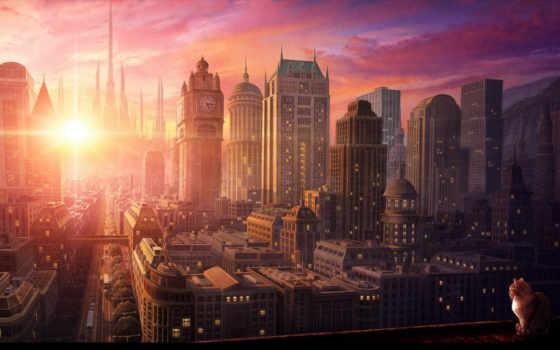 закат, город, anime