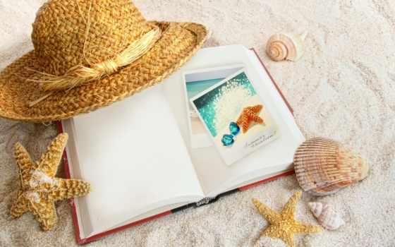 ракушки, морские, песок, star, морская, звезды, пляж, песке, шляпа, море,