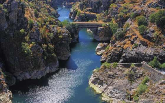скалы, река, мост, trees, изображение, мяч, природа, лес, js,