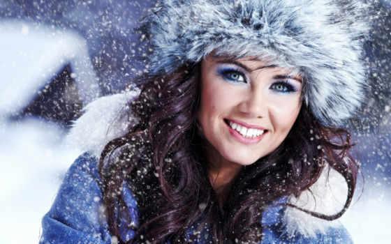 зимой, девушек, devushki, красивые, дек, шапки, зимние, xa,
