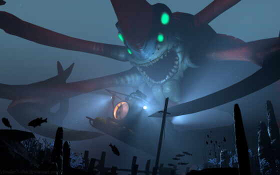 subnautica, game, monster, существо, ужасный, art, злой, нота, bestiarii