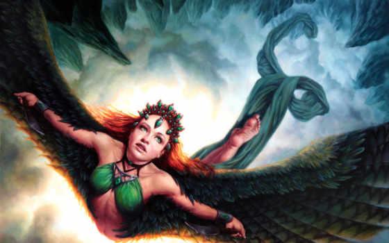 девушка, свобода, полет, птица, небо, крылья, взмах, ножи, перья, рыжая, облака, зелёный, глаза, шлейф,