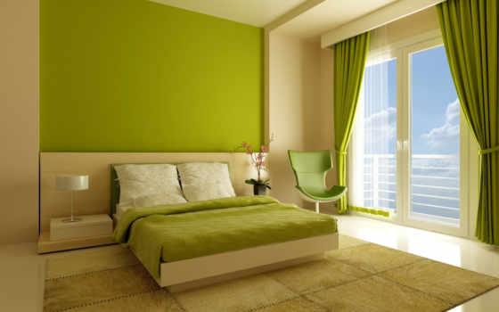 тонах, зелёных, спальня