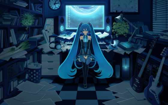anime, hatsune, синие