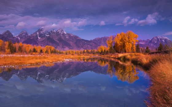 water, озеро, осень, горы, trees, отражение, расположение,