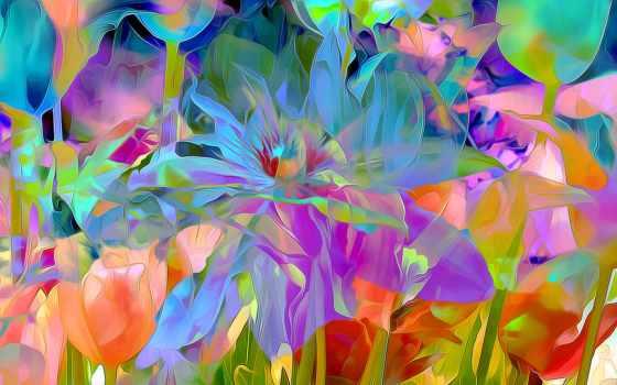 абстракции, цветы, картинка