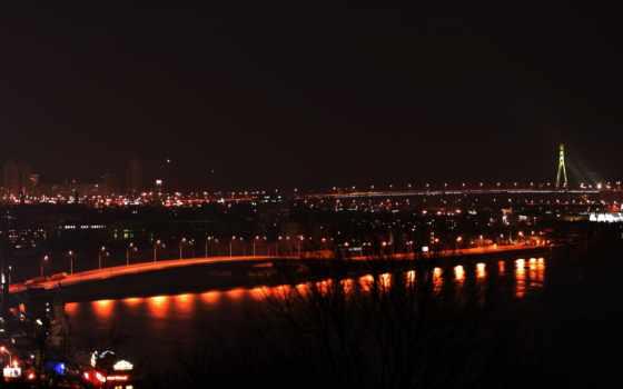 киев, днепр, город, мост, города, ночь, купить,