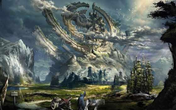 гора, дорога, облако, landscape, air, ter, permission, fantasy