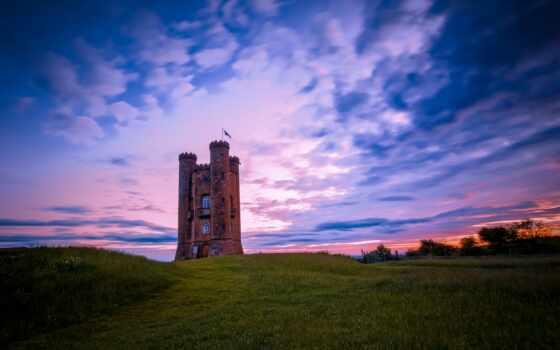 закат, англия, royalty, worcestershire, into, фото, поле, маяк, summer, midland, взгляд