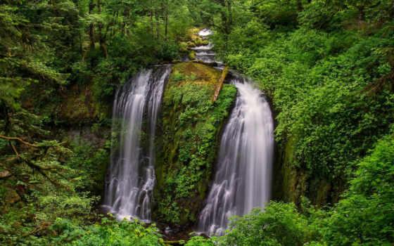 природа, falls, водопад