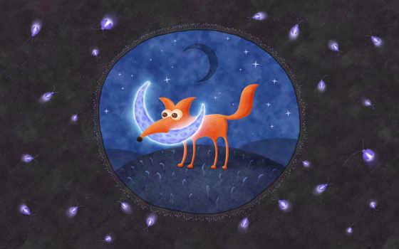 month, луна, ночь, фокс, светлячки, небо,
