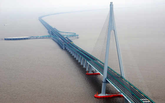 мост, hangzhou, bay, море, china, мире, мосты,