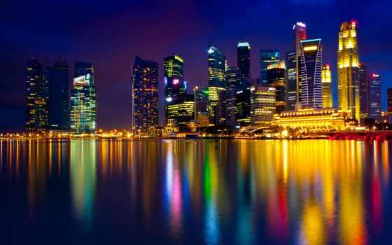 singapore, ночь, похожие, bay, огни, refle, марина,