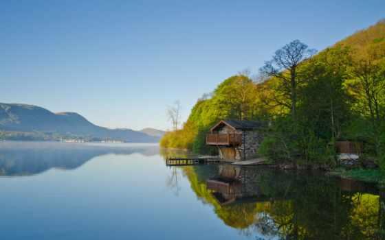 mount, house, scenery