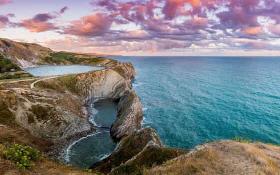 pazlyi, природа, landscape, побережье, закат, purbeck,