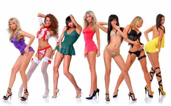 девушка, красивый, группа, центральный, белье, глаз, давление, lower, колонна, прогулка