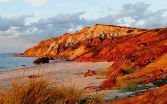 оранжевые, priroda, рубрики, kartinka, красивая, горы, скалы, побережье, трава, морском,