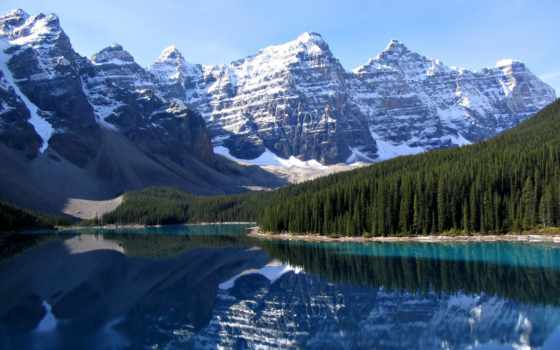 озеро, морейн, moraine, канадский, альберта, banff, деревни,