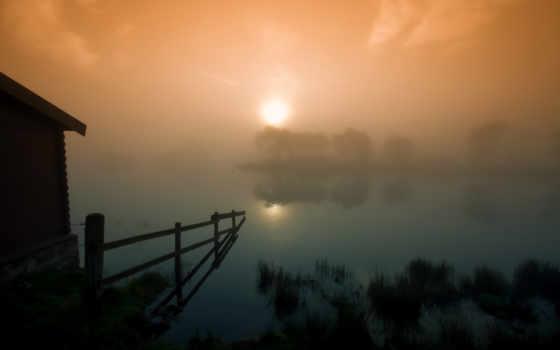 scotia, туман, sun, закат, mist, house, сумерки, озеро, забор,